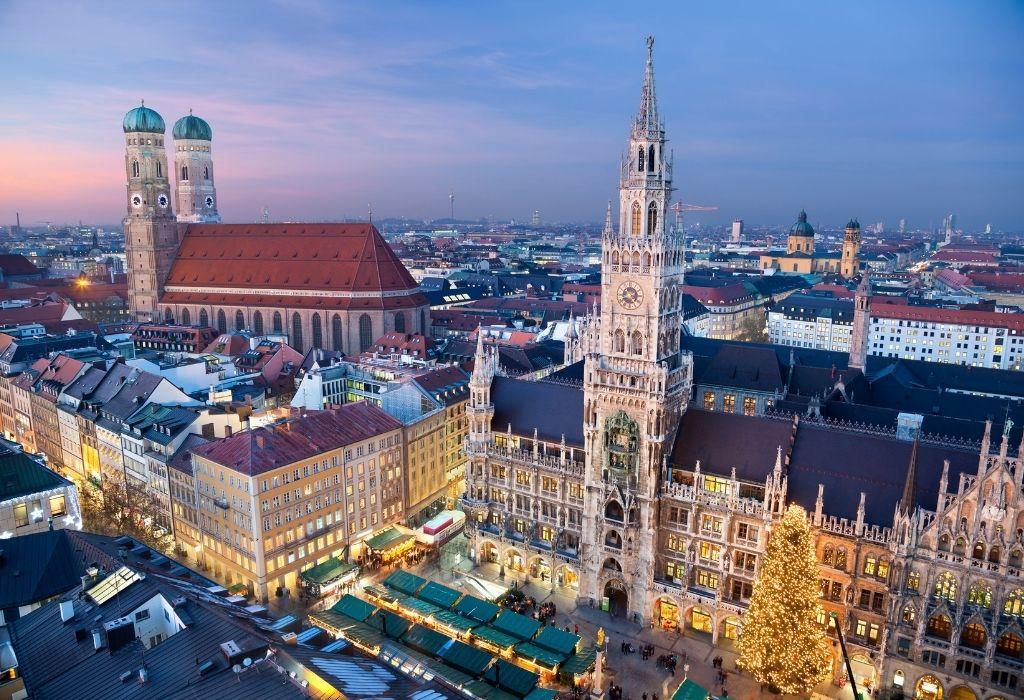 Aerial shot of Frauenkirche and Marienplatz Munich Bavaria