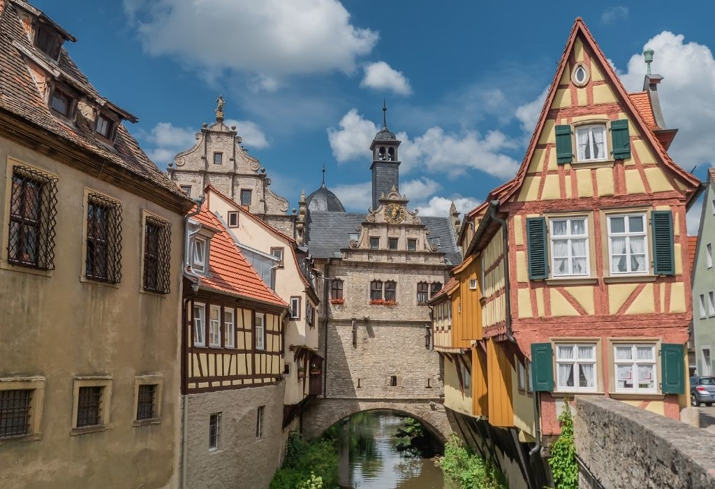 Half-timbered houses along a small river in Marktbreit - Bavarian Villages