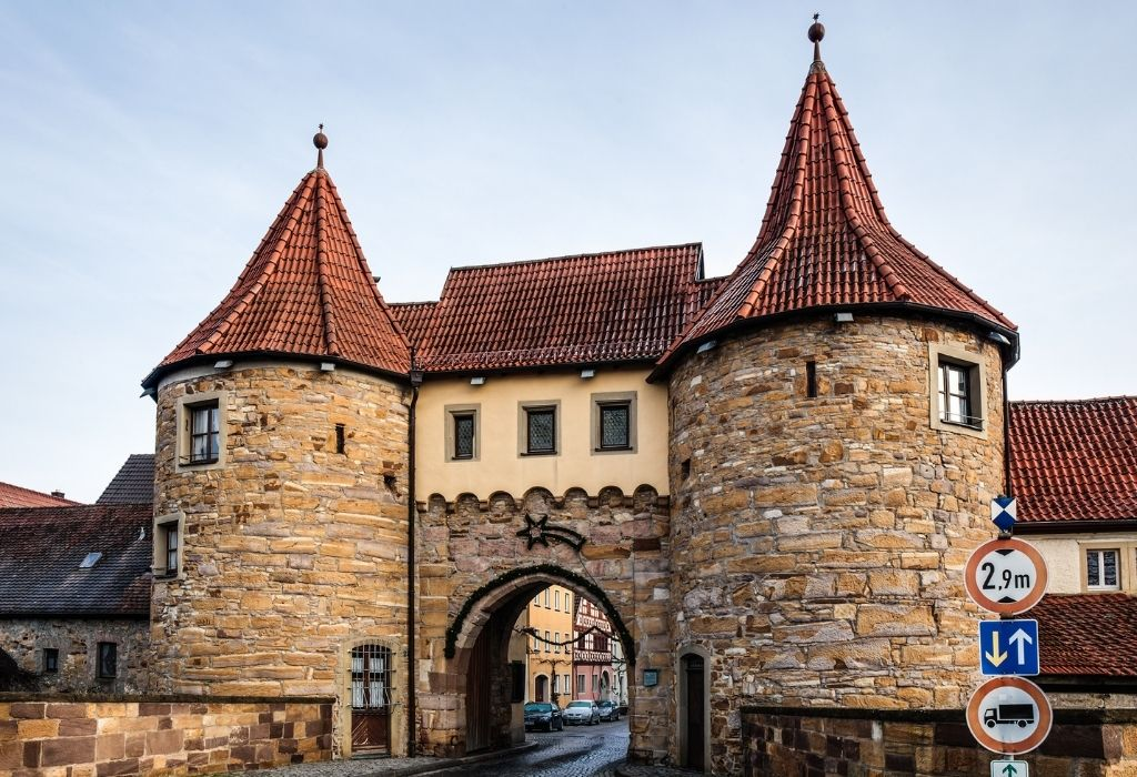 Medieval towers and gate at the main entrance of Prichsenstadt - Medieval Bavarian villages