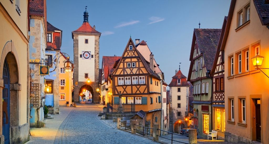 cobble stoned street in Rothenburg ob der Tauber Bavaria with medieval half timbered houses and cobblestoned streets